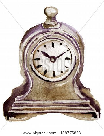 watercolor sketch of wooden clock on a white background