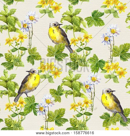 Cute birds in floral garden between flowers and herbs. Watercolor. Repetitive pattern.