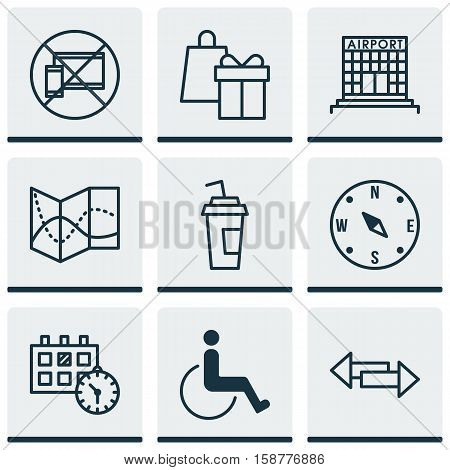 Set Of Traveling Icons On Accessibility, Appointment And Forbidden Mobile Topics. Editable Vector Illustration. Includes Airport, Paper, Crossroad And More Vector Icons.