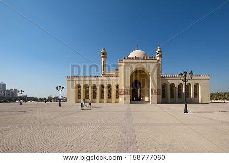 MANAMA, BAHRAIN - NOV 16, 2016: View of the beautiful Al Fateh Grand Mosque in Bahrain