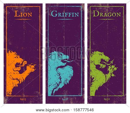 Vector set vintage posters with lion griffin and dragon. Game banners with animals.