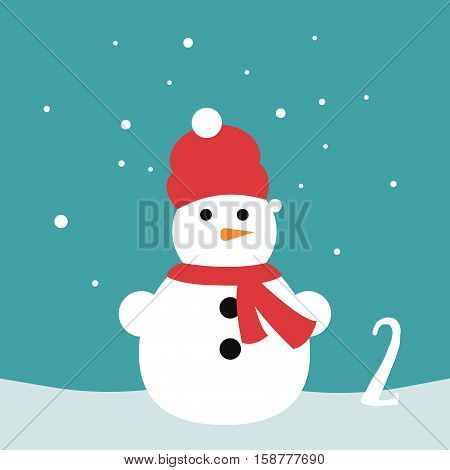 Christmas poster. Colorful Christmas Advent Calendar. Countdown to Christmas- 2