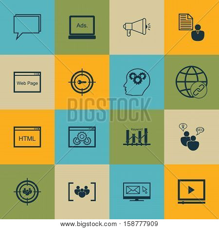 Set Of Marketing Icons On Media Campaign, Video Player And Questionnaire Topics. Editable Vector Illustration. Includes Group, Brain, Audience And More Vector Icons.