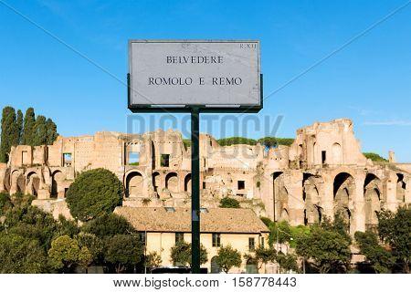 Mausoleum of romulus in rome, belvedere romolo e remo sign, italy