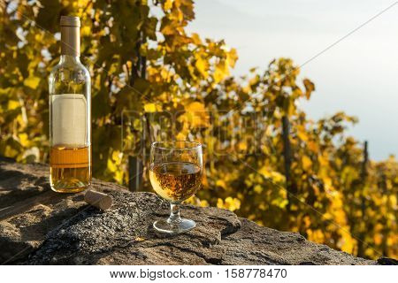 One glass of white wine on the old stone wall. The bottle of wine and the cork close the glass. Autumnal vineyard in Lavaux region, Switzerland.