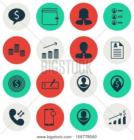 Set Of Human Resources Icons On Manager, Money And Business Goal Topics. Editable Vector Illustration. Includes Phone, Discussion, Coins And More Vector Icons.