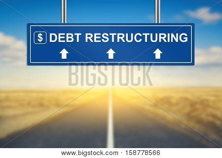 debt restructuring words on blue road sign with blurred background
