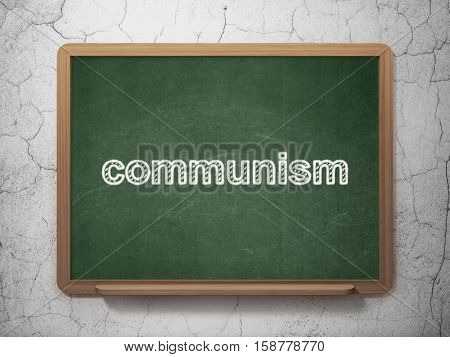 Politics concept: text Communism on Green chalkboard on grunge wall background, 3D rendering