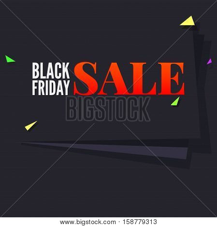 Black Friday sale large black banner, pennant, flag with flying, colored confetti on dark background, design template