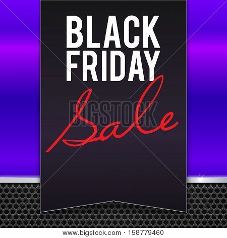 Black Friday sale large black banner, pennant, flag on a yellow background made of blue, pink painted metal with metal strip and mesh