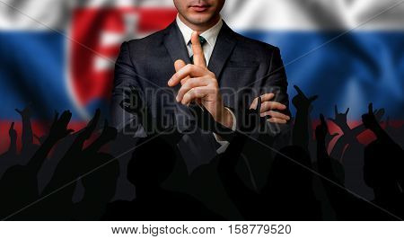Slovak Candidate Speaks To The People Crowd