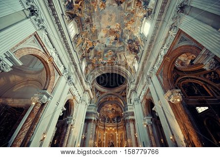 ROME - MAY 12: Beautiful interior from The Church of St. Ignatius of Loyola on May 12, 2016 in Rome, Italy. Rome ranked 14th in the world, and 1st the most popular tourism attraction in Italy.