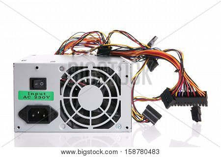 PSU power supply unit for computer on white background with reflection