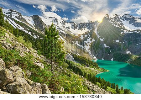 Beautiful Summer Landscape, Altai Mountains Russia.