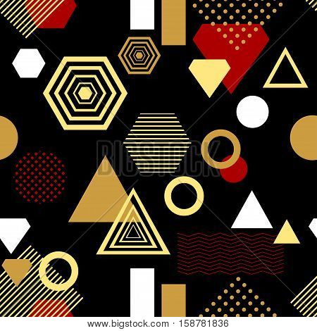 Abstract seamless pattern from geometric form in postmodern Memphis Style black gold red for wallpaper or package or for clothes or for perfume or for holiday or creative design
