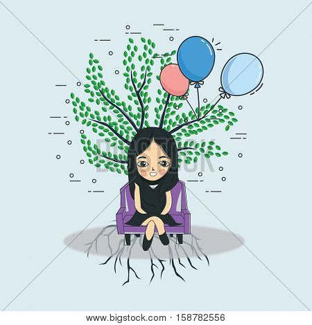 pretty girl illustration with baloon and tree, simple line art design illustration