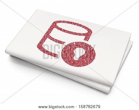 Programming concept: Pixelated red Database With Lock icon on Blank Newspaper background, 3D rendering