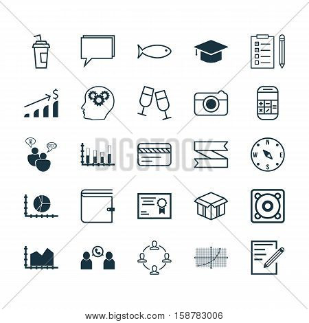 Set Of 25 Universal Editable Icons. Can Be Used For Web, Mobile And App Design. Includes Icons Such As Segmented Bar Graph, Phone Conference, Brain Process And More.