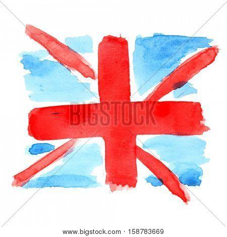Childlike watercolor flag of UK