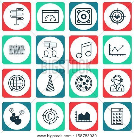 Set Of 16 Universal Editable Icons. Can Be Used For Web, Mobile And App Design. Includes Icons Such As Music, Opportunity, Focus Group And More.