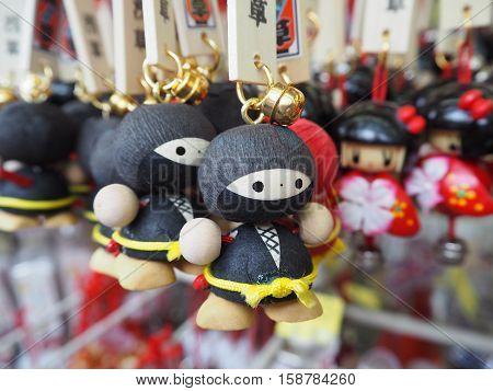 The Japanese key chain souvenir, ninja shape.