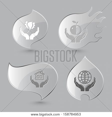 4 images: bird in hands, apple, home, protection world. In hands set. Glass buttons on gray background. Fire theme. Vector icons.