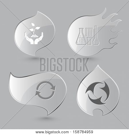 4 images: plant in hands, chemical test tubes, recycle symbol. Ecology set. Glass buttons on gray background. Fire theme. Vector icons.