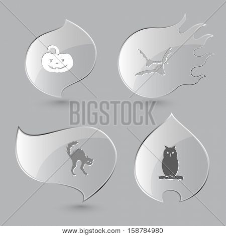 4 images: pumpkin, bats, cat, owl. Mystic signs set. Glass buttons on gray background. Fire theme. Vector icons.