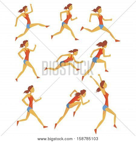 Female Sportswoman Running The Track With Obstacles And Hurdles In Red Top And Blue Short In Racing Competition Set Of Illustrations. Cartoon Character Hurdling Training And Jogging Fitness And Healthy Lifestyle Related Geometrical Icons.