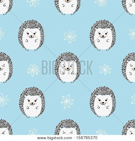 Seamless pattern with cute hedgehogs. Vector background for kids.