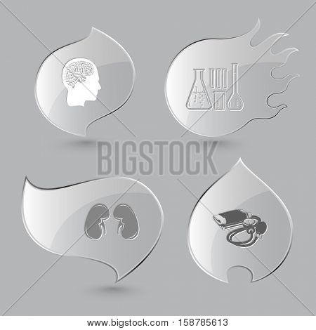 4 images: human brain, chemical test tubes, kidneys, blood pressure. Medical set. Glass buttons on gray background. Fire theme. Vector icons.
