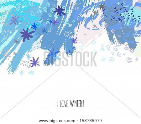 Trendy winter artwork. Modern graphic design card with hand drawn textures and shapes. Winter design template for poster, card, invitation, placard, brochure, flyer. Vector illustration stock vector.