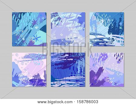 Set of modern winter graphic cards with hand drawn textures and shapes. Trendy winter artwork. Design template for poster, card, invitation, placard, brochure, flyer. Vector illustration stock vector.