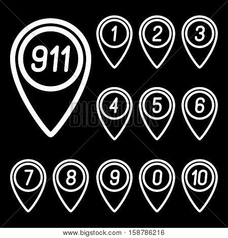 The numbers on the map arrows. Vector illustration.