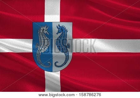 Flag of Fano in Southern Denmark Region. 3d illustration
