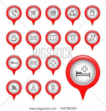 Icons on the map arrow. Vector illustration.