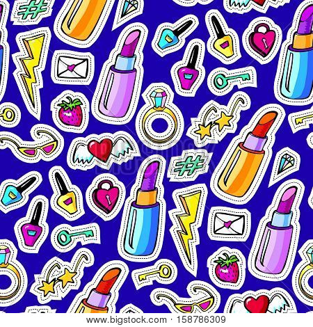 Seamless pattern with decorative fashion patch badges with colorful girls elements. Girl patches in comic cartoon 80-90 style. Vector illustration stock vector.