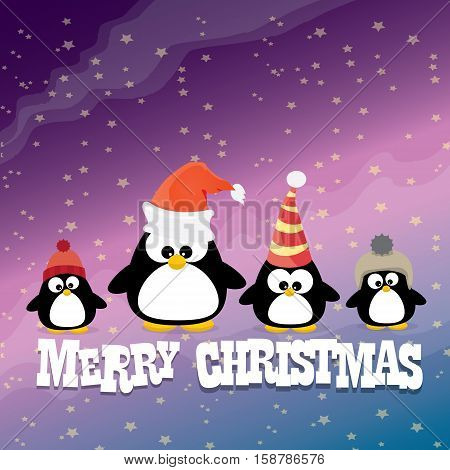 merry christmas card with penguins set. cartoon funny penguins