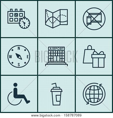Set Of Airport Icons On Drink Cup, Shopping And Accessibility Topics. Editable Vector Illustration. Includes Cup, Paralyzed, World And More Vector Icons.