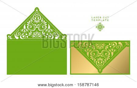 Vector wedding card laser cut template. Vintage decorative elements. Hand drawn background