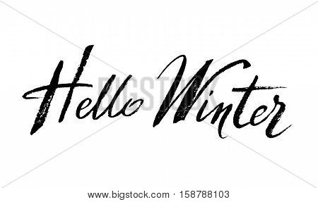 Hello winter brush lettering calligraphy on white isolated. For winter cards, invitations, templates hand drawn lettering. Vector illustration stock vector.