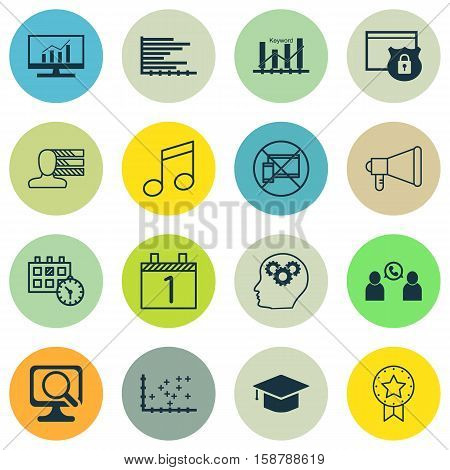 Set Of 16 Universal Editable Icons. Can Be Used For Web, Mobile And App Design. Includes Icons Such As Bars Chart, Crotchets, Market Research And More.