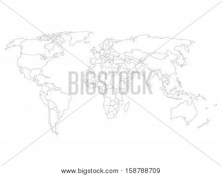 Blank map of World with thin black smooth country borders on white background. Simplified flat vector illustation.