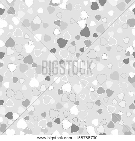 Seamless background with scattering of hearts in tints of grey color. Holiday endless wrapping wallpaper. Valentine s day in February 14. Vector illustration