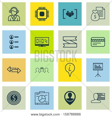Set Of 16 Universal Editable Icons. Can Be Used For Web, Mobile And App Design. Includes Icons Such As Job Applicants, Presentation, Personal Skills And More.