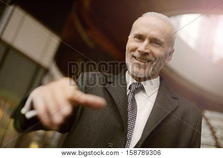 Businessman initiating a handshake