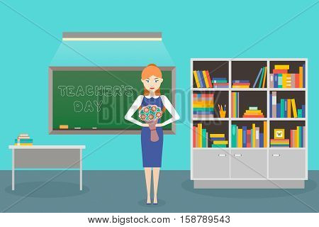 Teacher's Day. Young womens teacher with a flower in her hand in class. Vector illustration. Flat design.