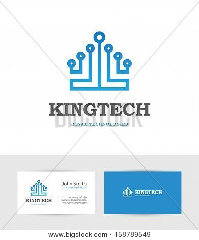 Abstract blue technology logo looking like a king crown. Can be used for computer data digital or hi-tech business design concept.