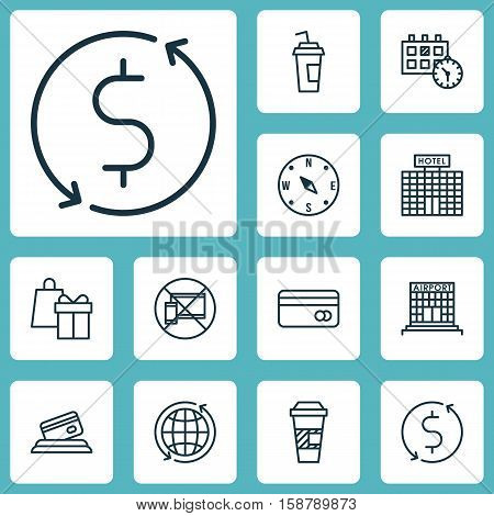 Set Of Traveling Icons On Credit Card, Shopping And Plastic Card Topics. Editable Vector Illustration. Includes Airport, Calendar, Shopping And More Vector Icons.