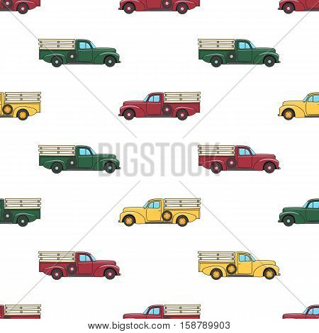 Pickup truck vintage. Pattern with retro pickup truck. Vector doodle illustration